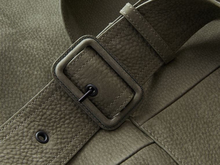 Lightweight Grainy Nubuck Trench Coat in Khaki Green - Men | Burberry - cell image 1