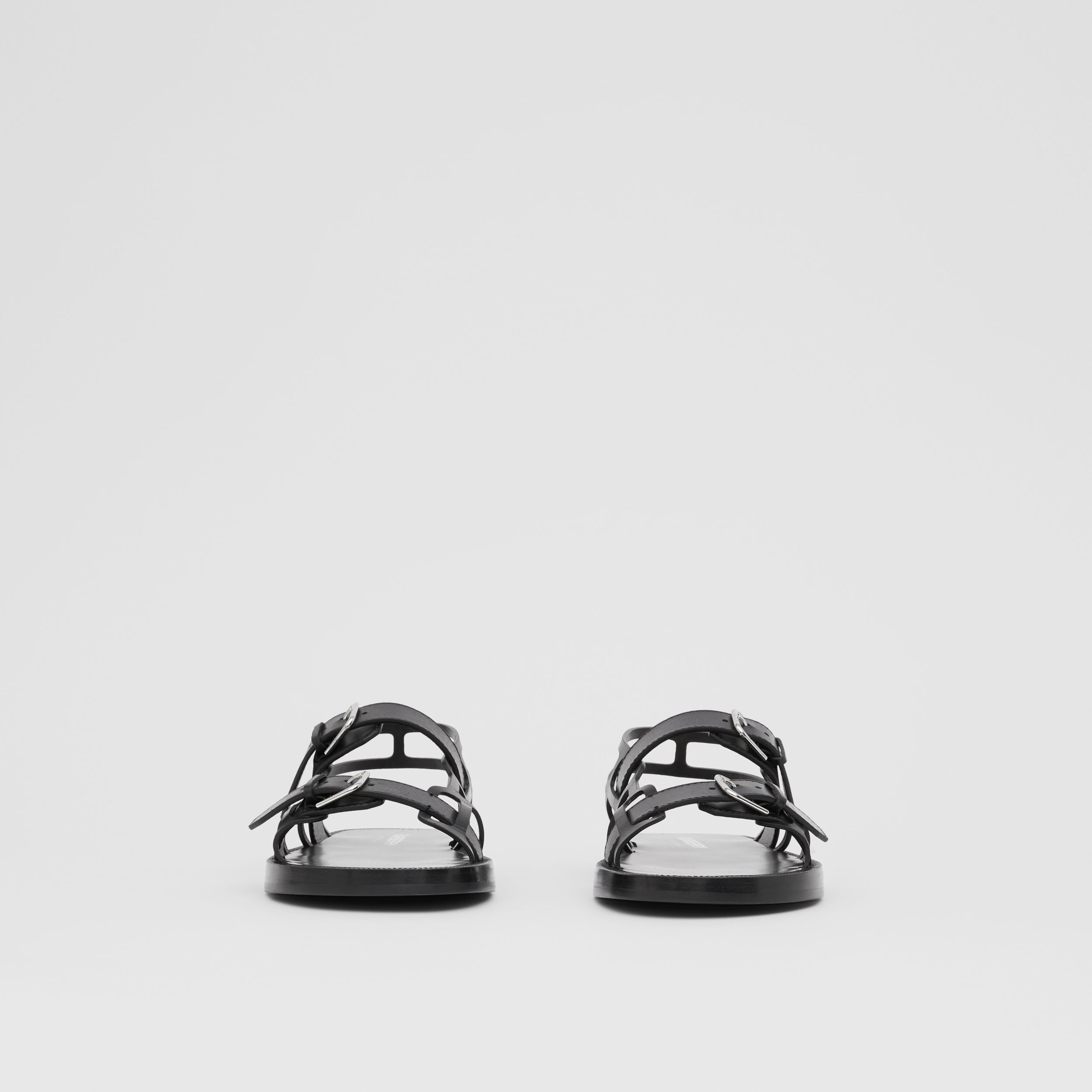 Leather Webb Sandals in Black - Men | Burberry - 4