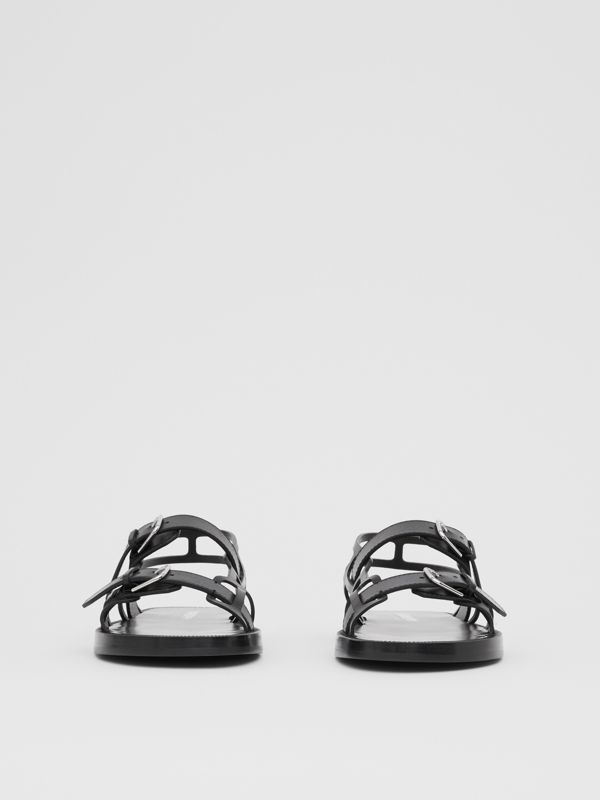 Leather Webb Sandals in Black | Burberry Australia - cell image 3