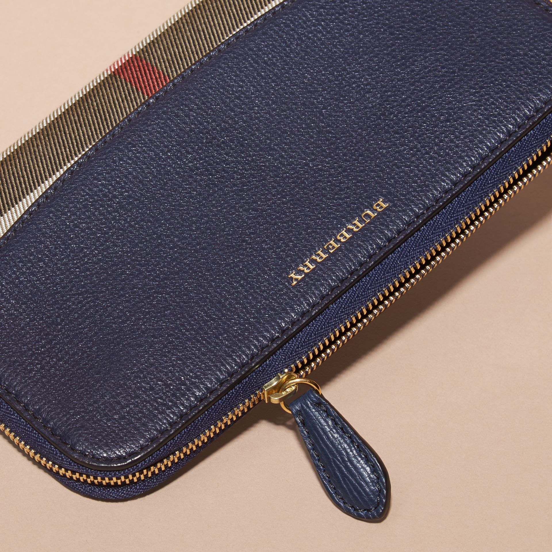 House Check and Leather Ziparound Wallet Ink Blue - gallery image 4