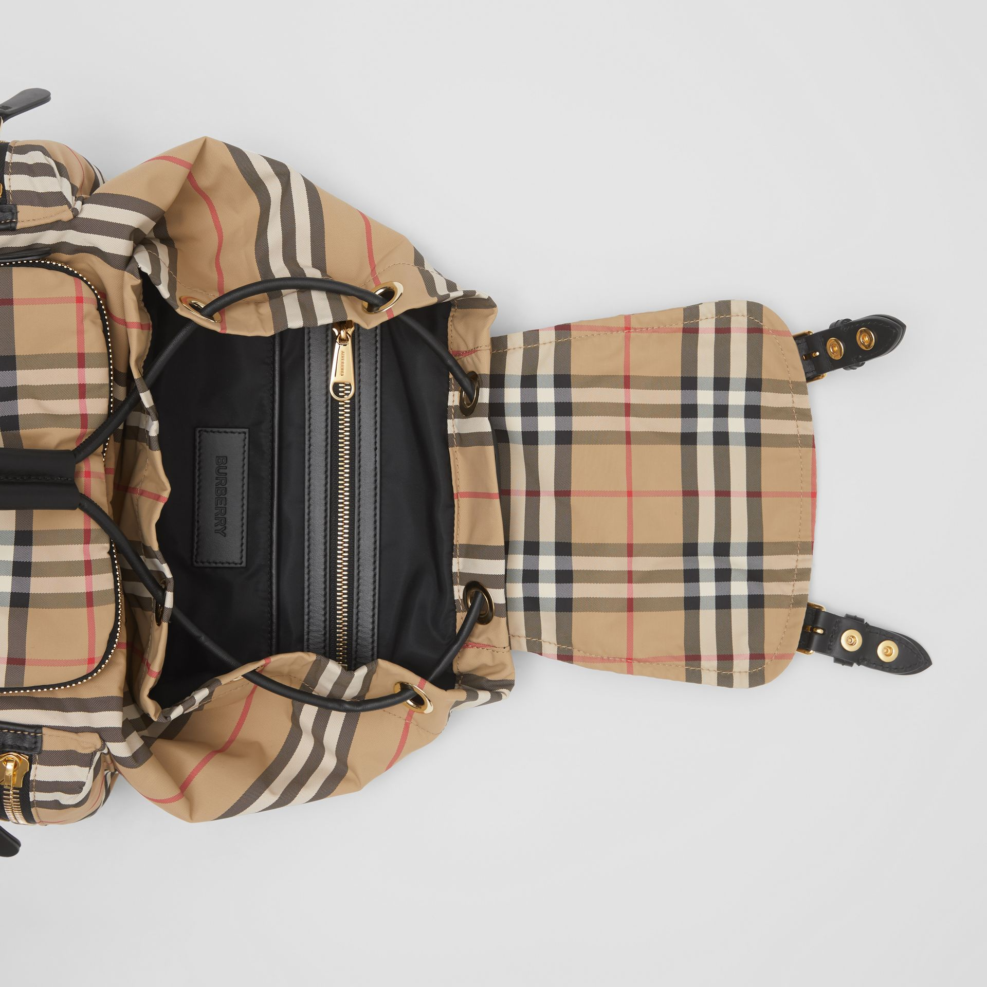 The Medium Rucksack in Vintage Check ECONYL® in Archive Beige - Women | Burberry - gallery image 5