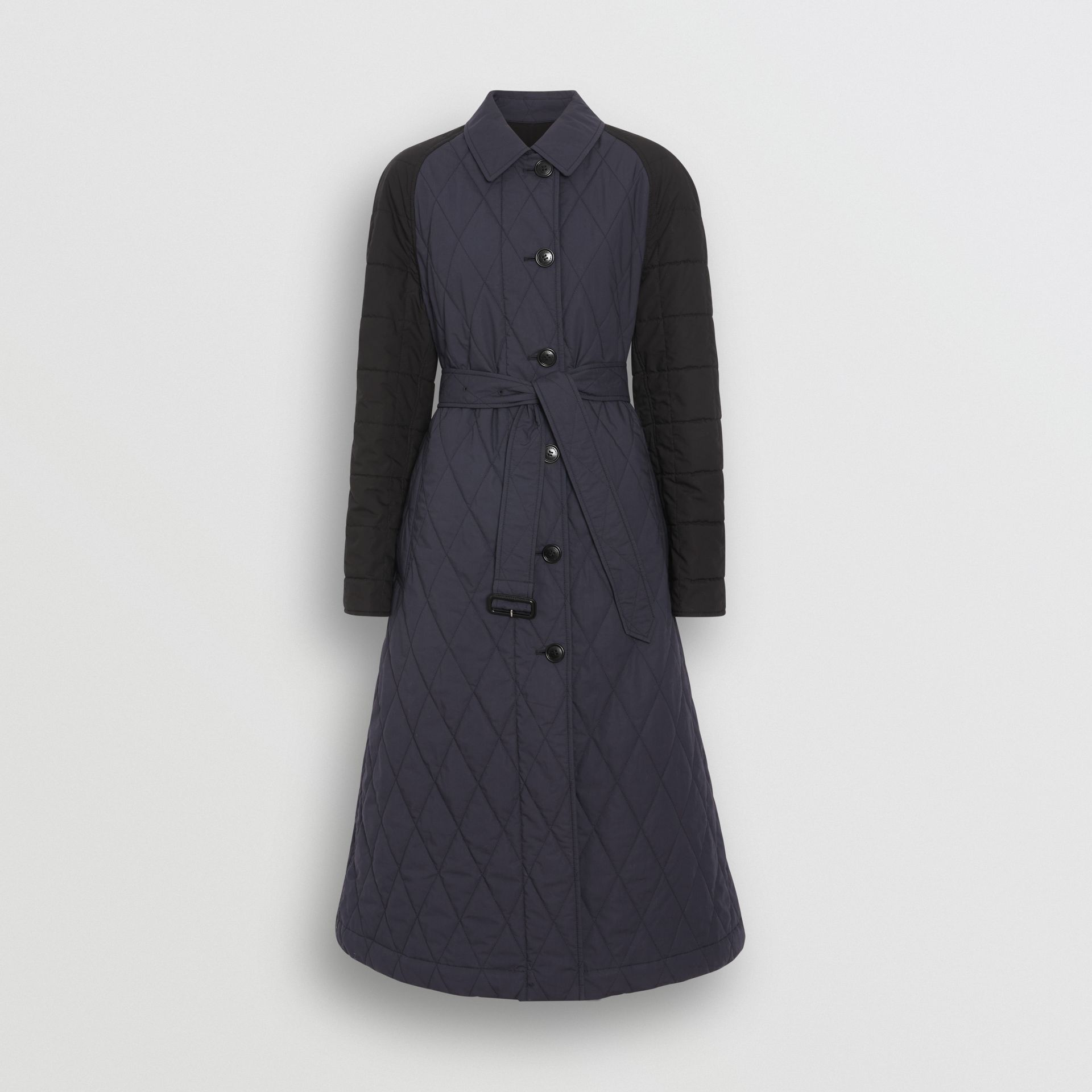 Reversible Contrast Sleeve Quilted Cotton Car Coat in Navy - Women | Burberry - gallery image 3