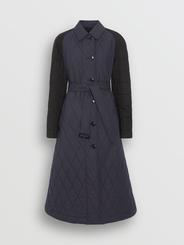 Reversible Contrast Sleeve Quilted Cotton Car Coat in Navy - Women | Burberry - cell image 3