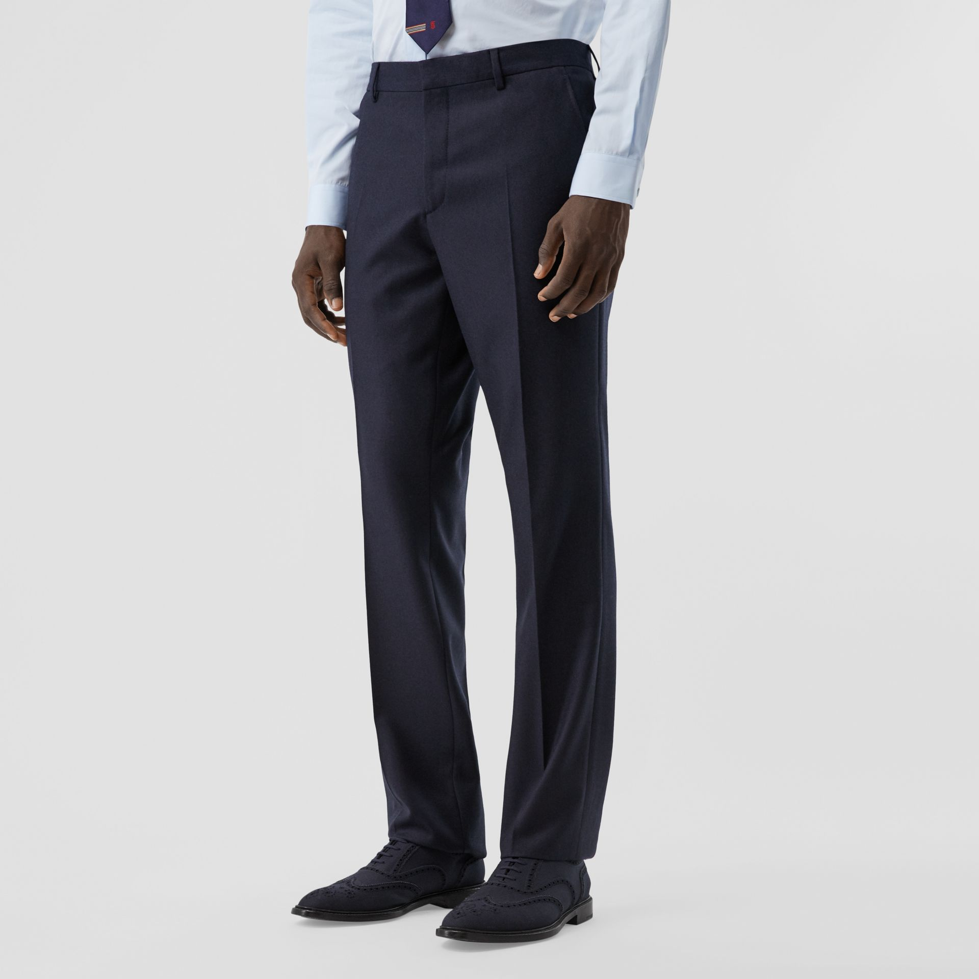 Classic Fit Wool Flannel Tailored Trousers in Navy - Men | Burberry - gallery image 4