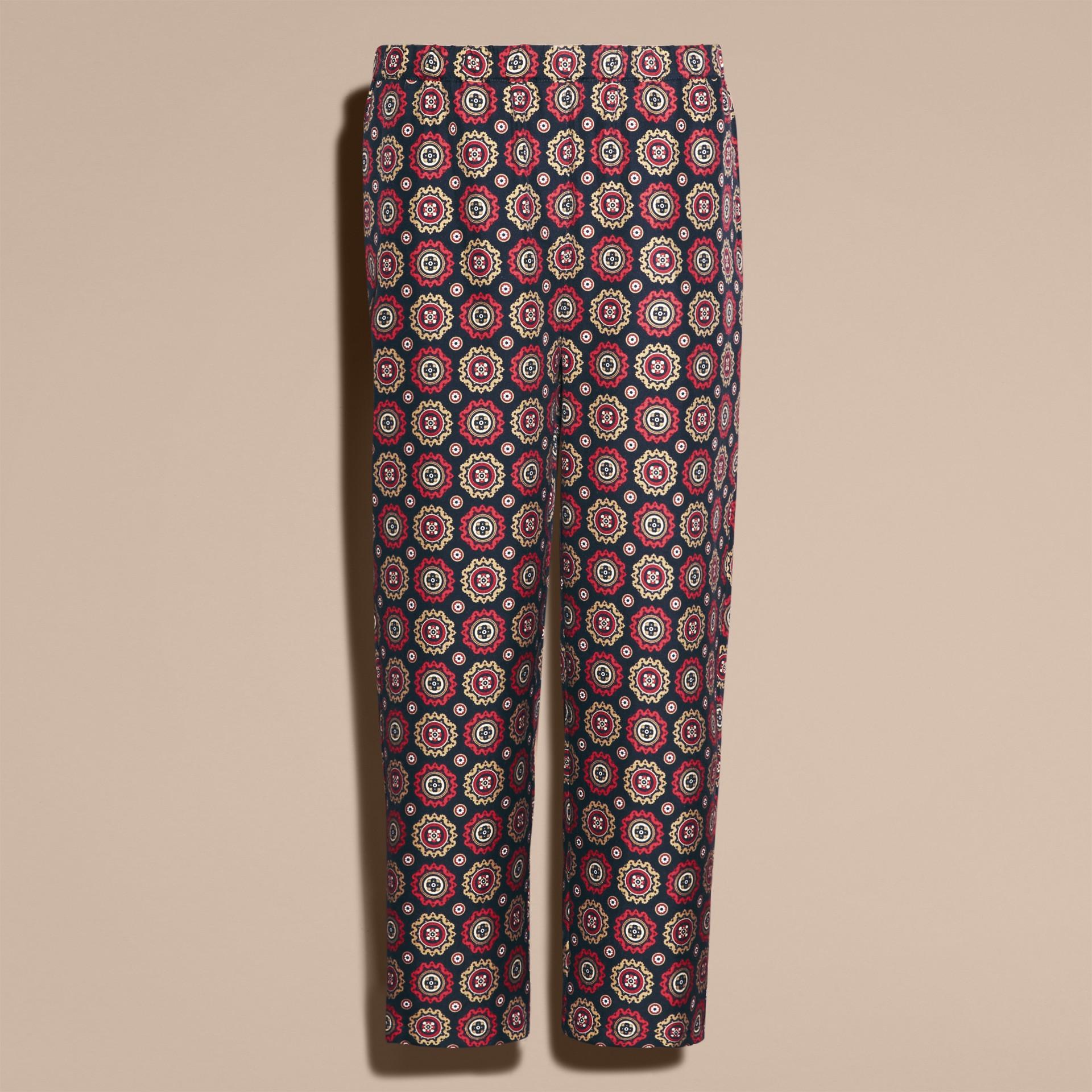 Azul marinho Calças estilo pijama curtas de sarja de seda estampadas - galeria de imagens 4