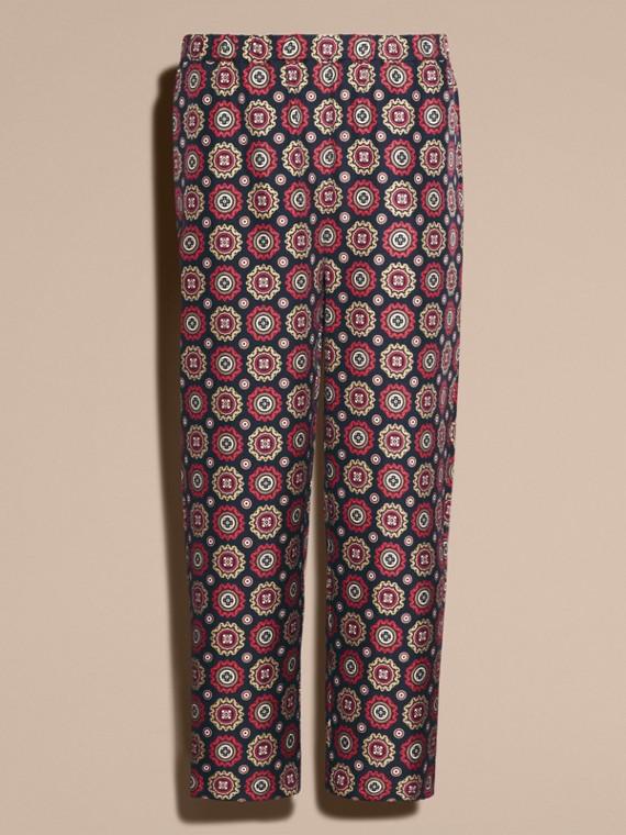 Marineblau Hose aus Seidentwill im Pyjamastil mit kürzerer Beinlänge und Pyjamadruck - cell image 3