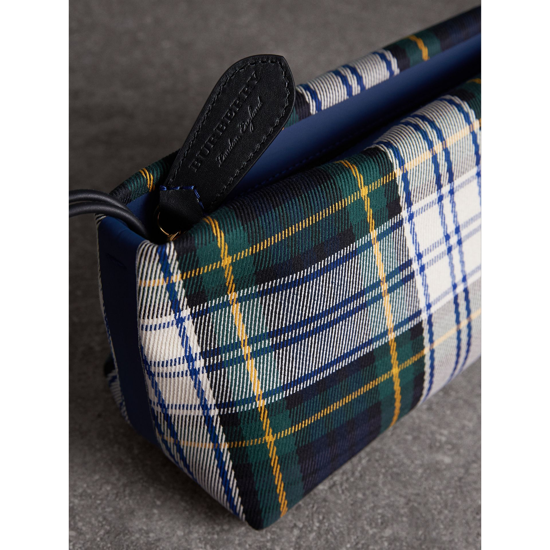 Tartan Cotton Clutch in Ink Blue/bright Yellow | Burberry Australia - gallery image 1