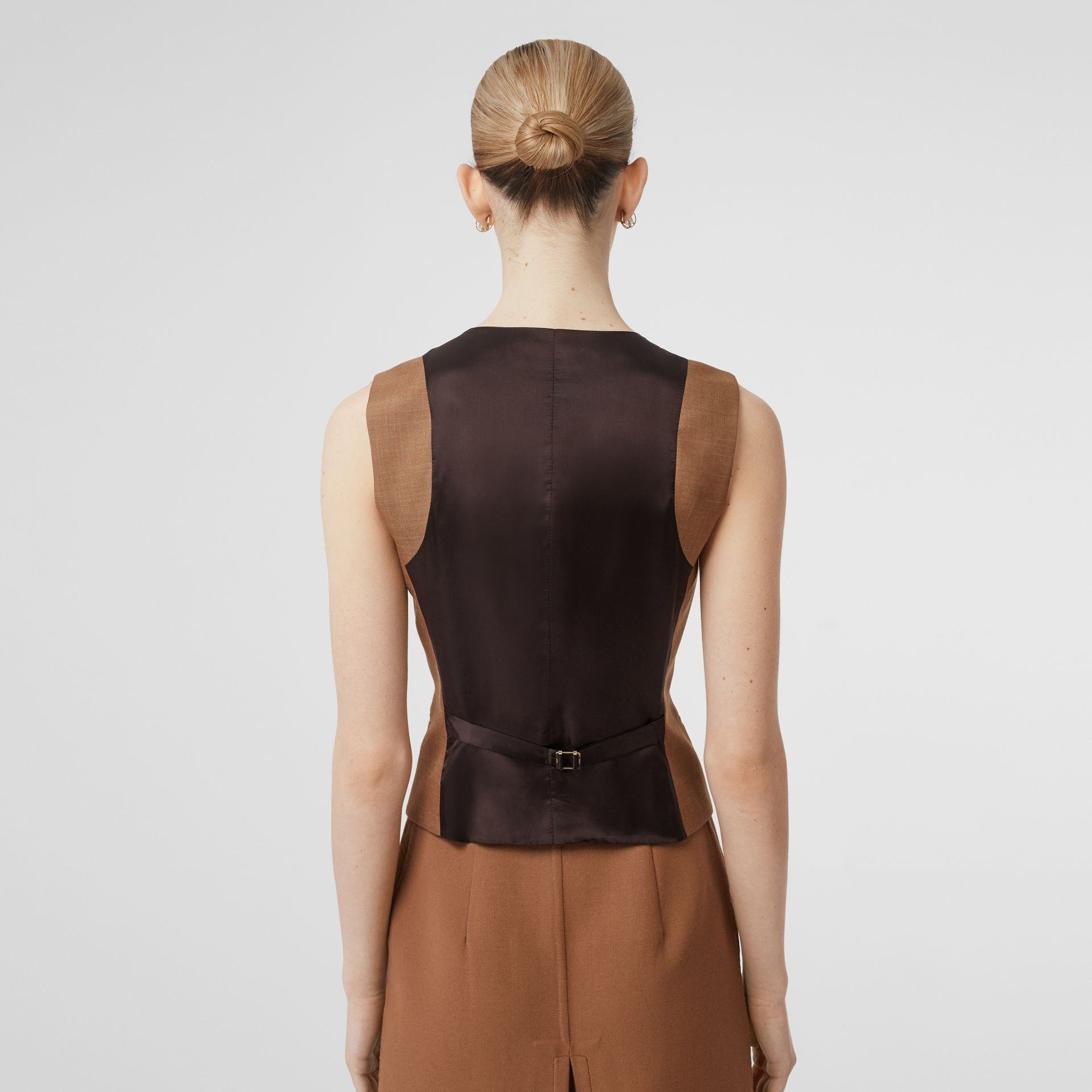 Satin Panel Mohair Wool Blend Tailored Waistcoat in Bronze - Women | Burberry - gallery image 2