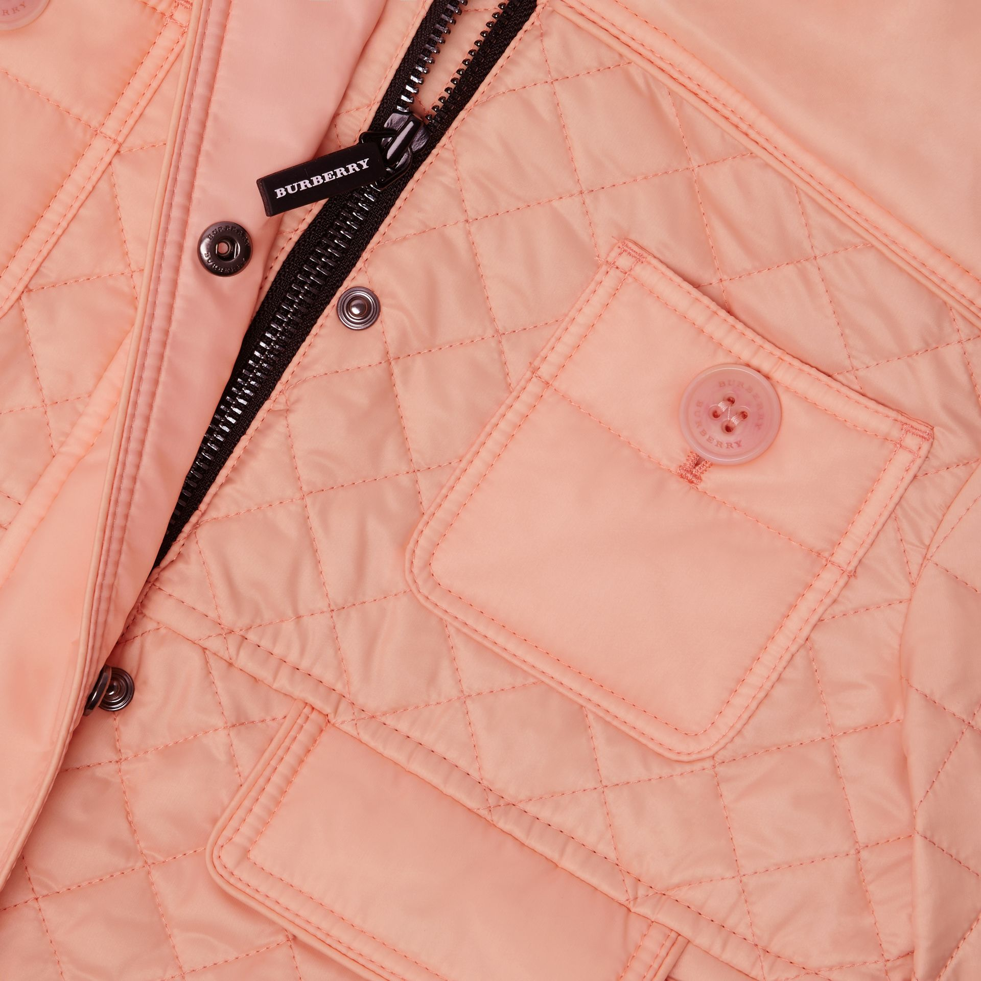 Lightweight Diamond Quilted Jacket in Apricot Pink - Children | Burberry - gallery image 1