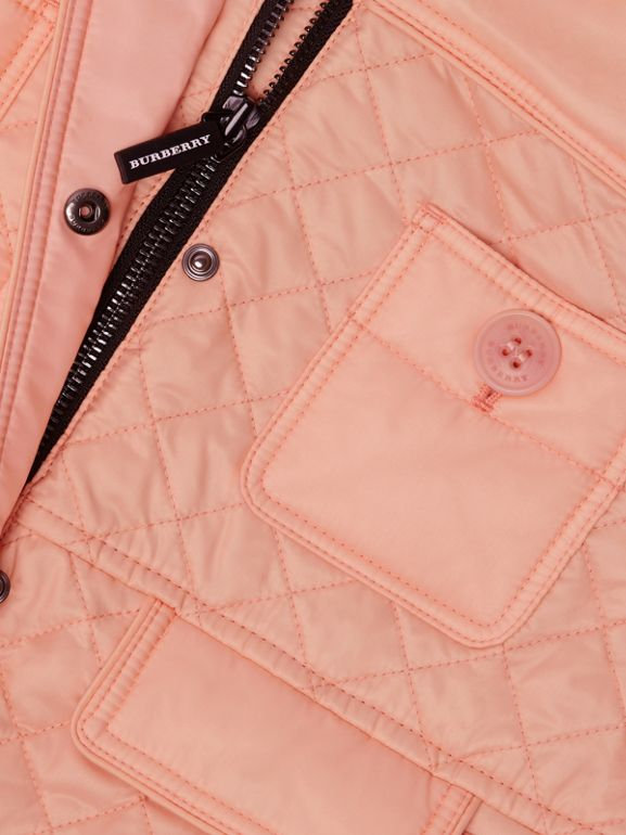 Lightweight Diamond Quilted Jacket in Apricot Pink | Burberry - cell image 1