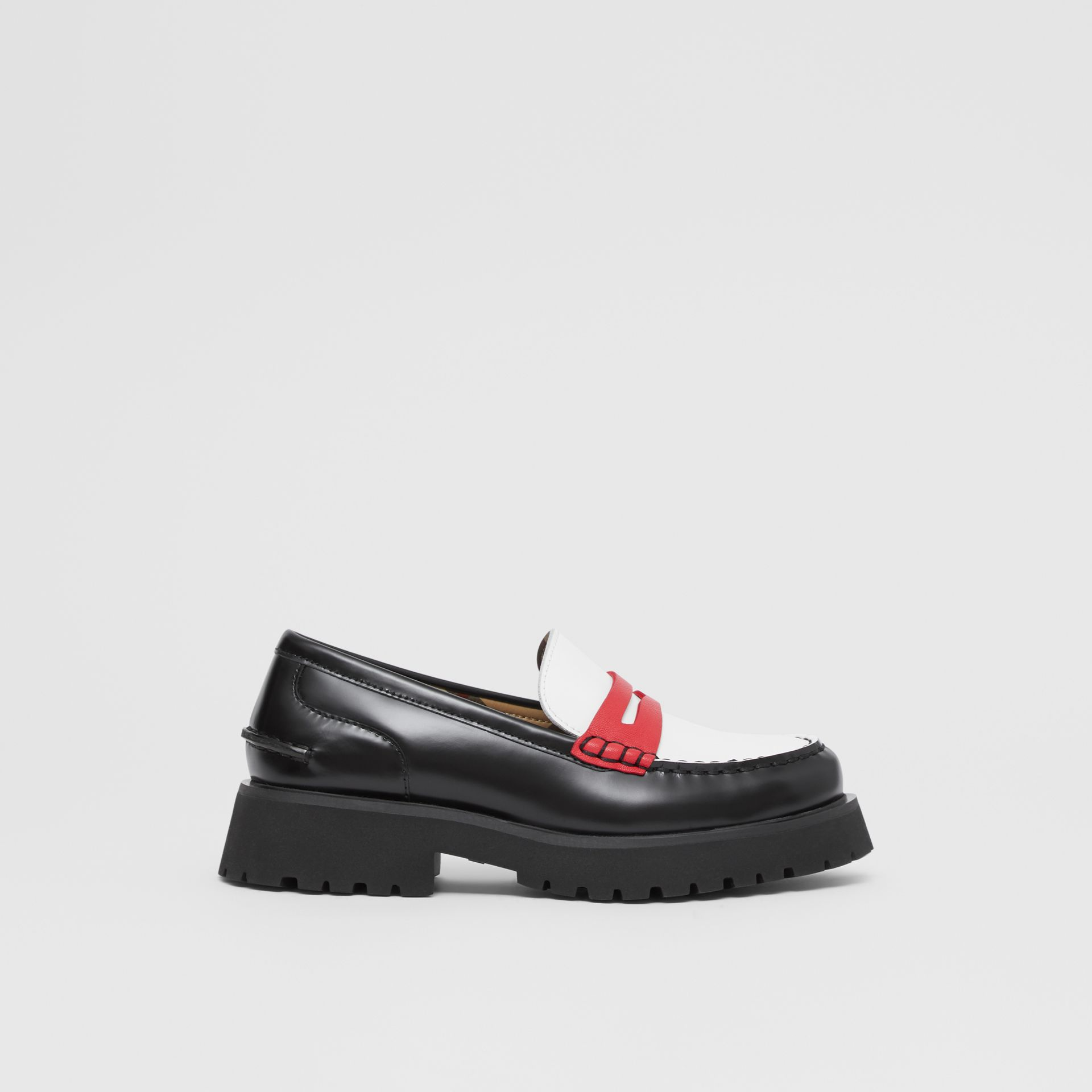 Tri-tone Leather Loafers in Optic White/red - Children | Burberry United Kingdom - gallery image 3