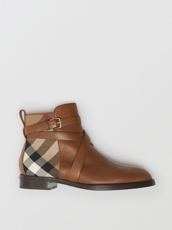 Strap Detail House Check and Leather Ankle Boots in Bright Camel