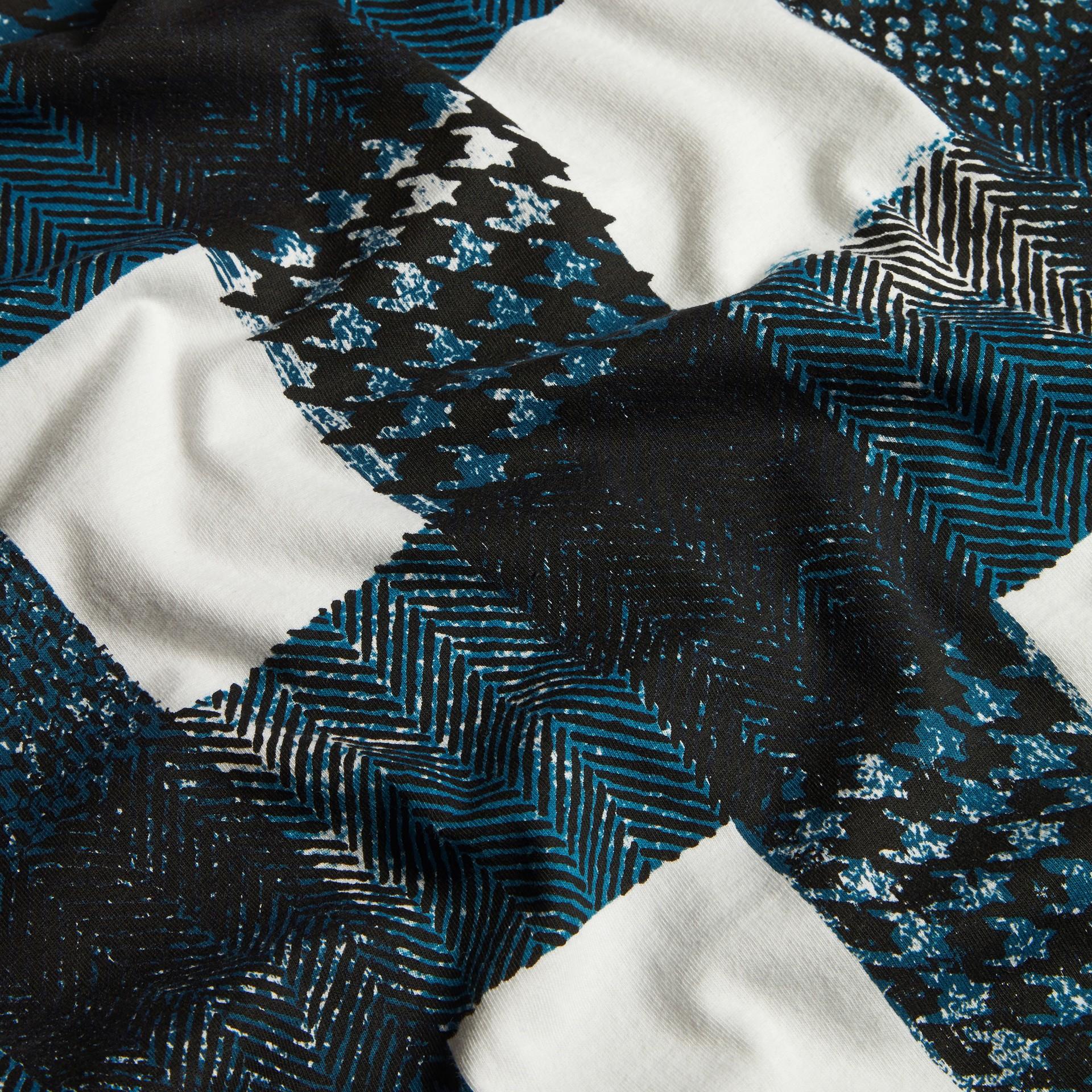 Bianco T-shirt in cotone effetto texture con motivo check Bianco - immagine della galleria 2