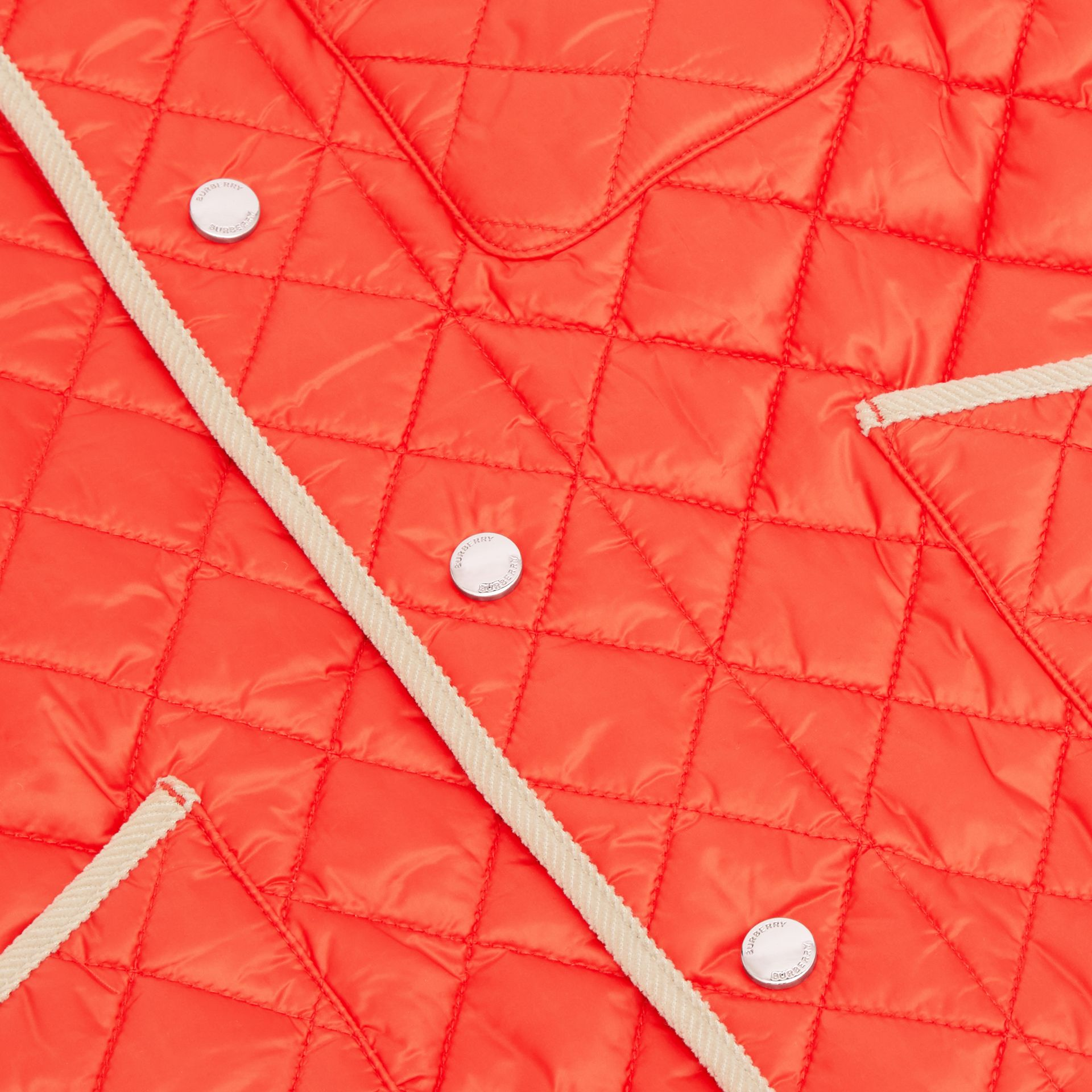 Corduroy Trim Lightweight Diamond Quilted Jacket in Bright Coral Orange | Burberry - gallery image 1