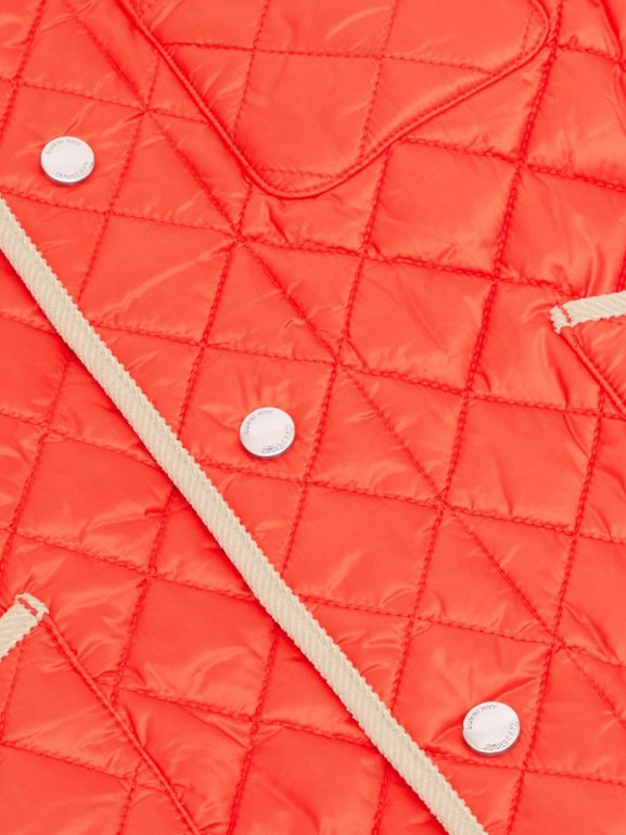 Corduroy Trim Lightweight Diamond Quilted Jacket in Bright Coral Orange | Burberry - cell image 1