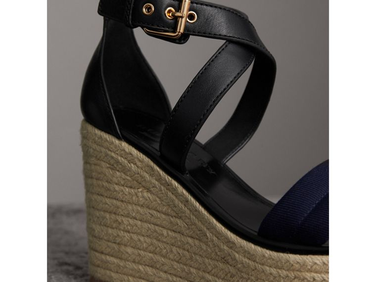 Leather and House Check Platform Espadrille Wedge Sandals in Navy - Women | Burberry - cell image 1