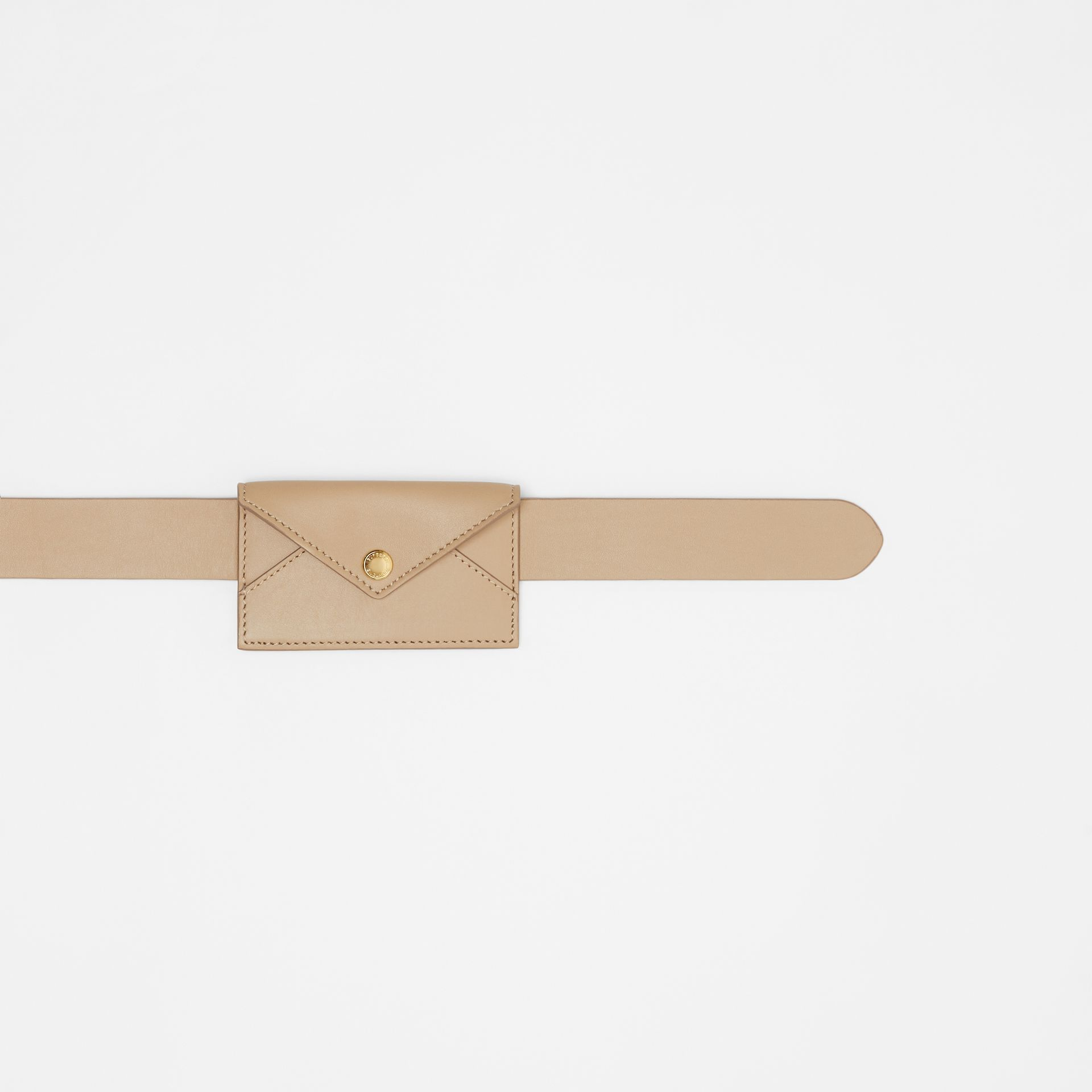 Envelope Detail Leather Belt in Latte - Women | Burberry - gallery image 1