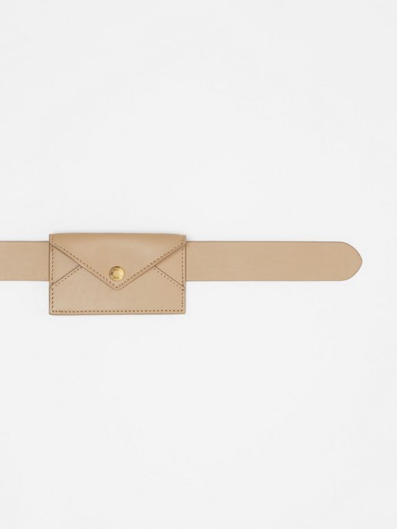Envelope Detail Leather Belt in Latte - Women | Burberry - cell image 1