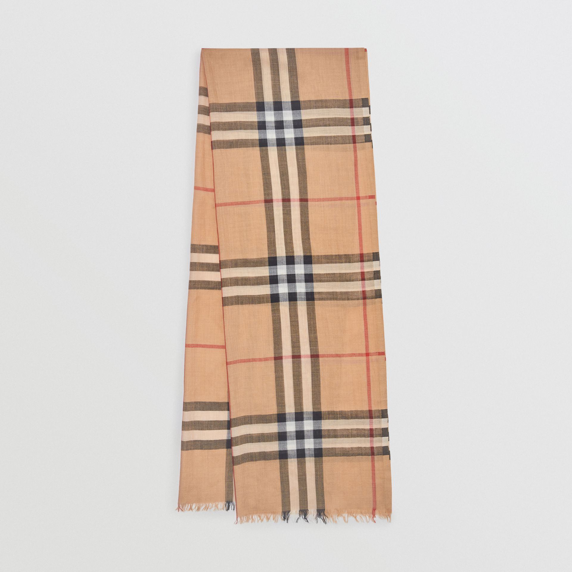 Lightweight Check Wool and Silk Scarf in Camel | Burberry - gallery image 0