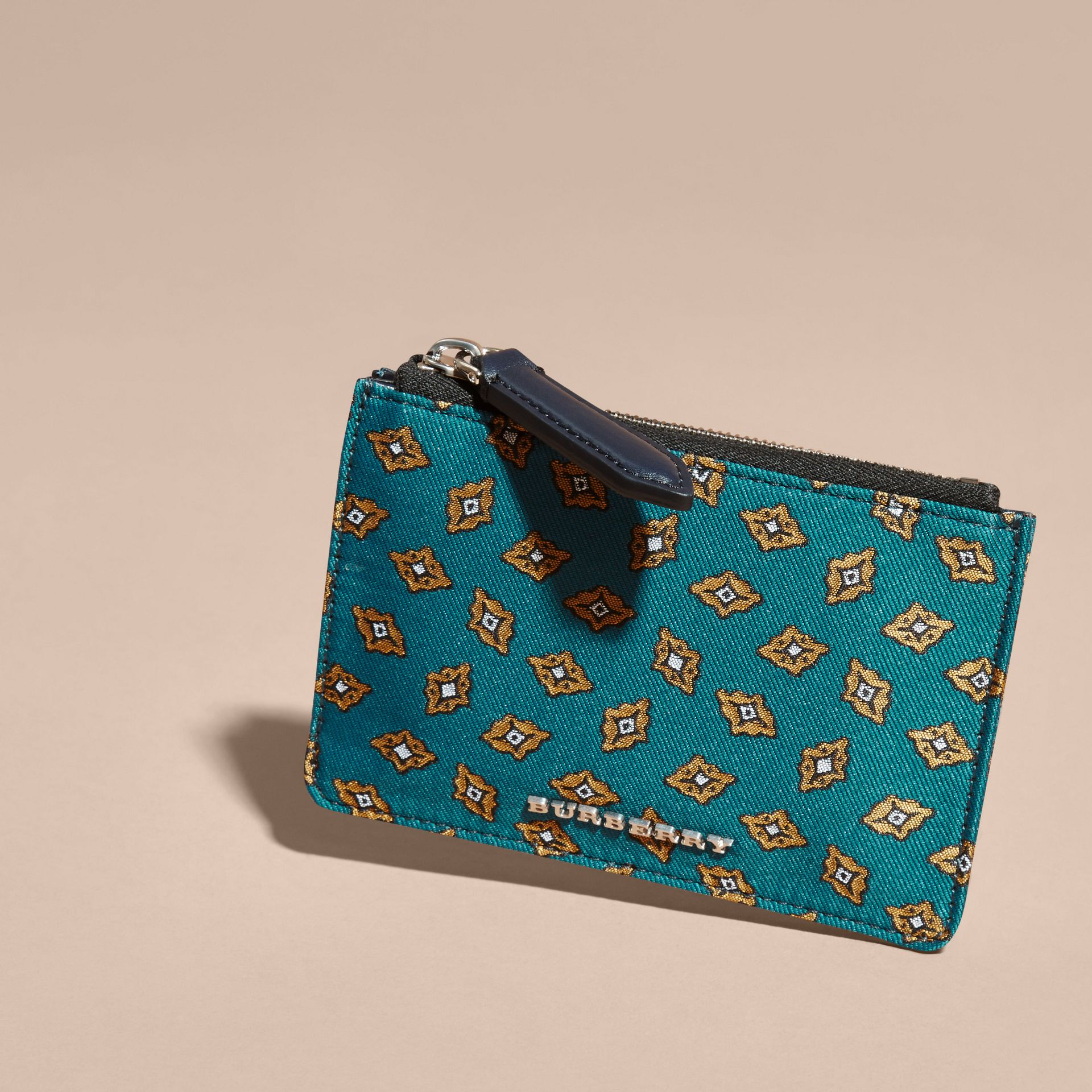 Dark teal Geometric Tile Jacquard Zip-top Wallet Dark Teal - gallery image 3