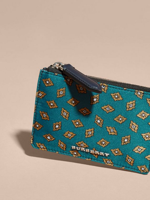 Dark teal Geometric Tile Jacquard Zip-top Wallet Dark Teal - cell image 2