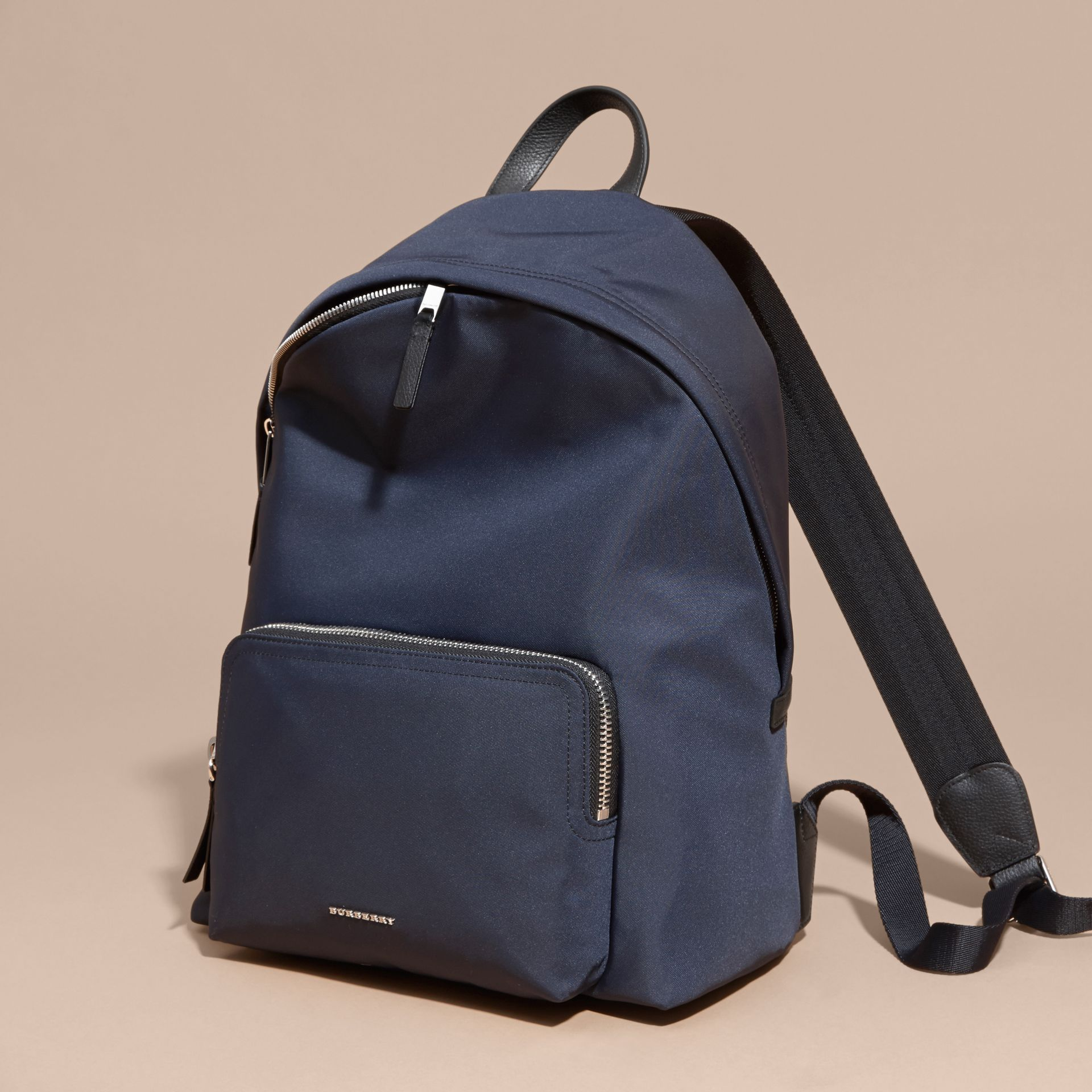 Leather Trim Technical Backpack in Dark Navy - Men | Burberry Australia - gallery image 6