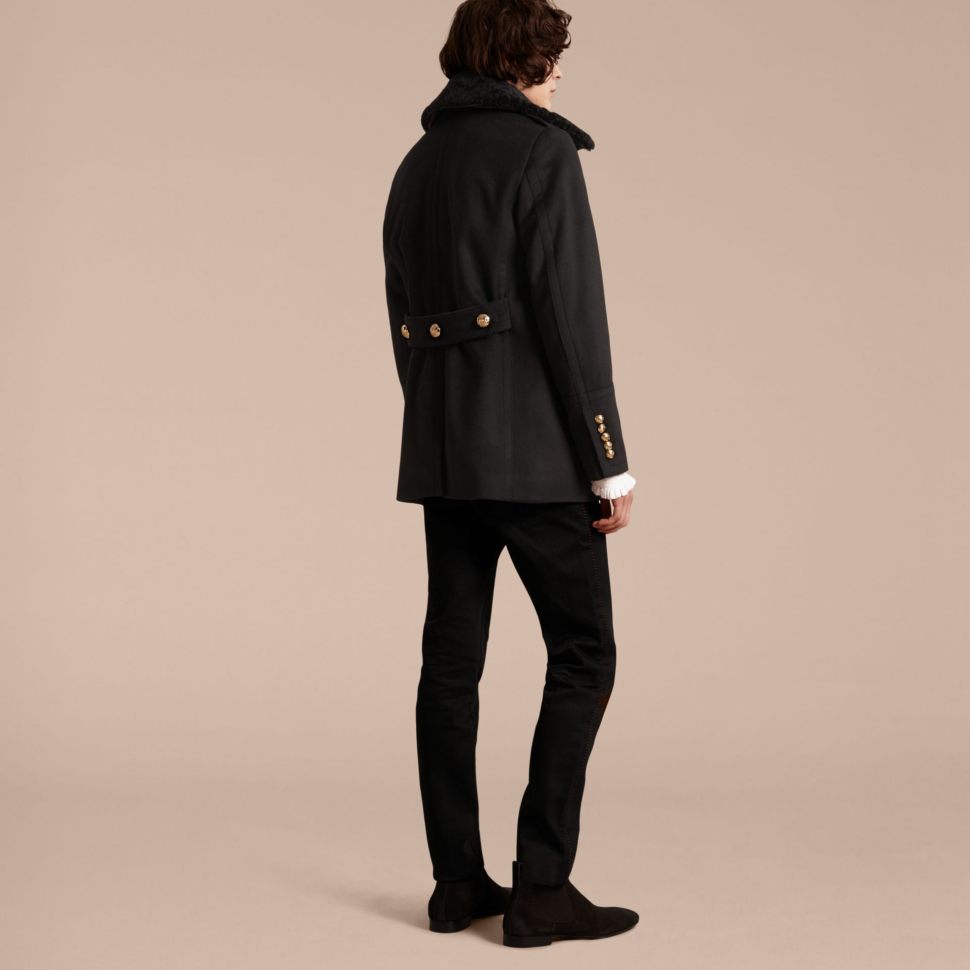 Military Pea Coat with Detachable Shearling Collar - gallery image 3