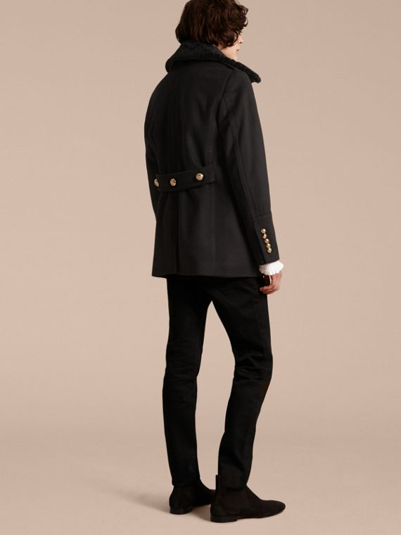 Black Military Pea Coat with Detachable Shearling Collar - cell image 2