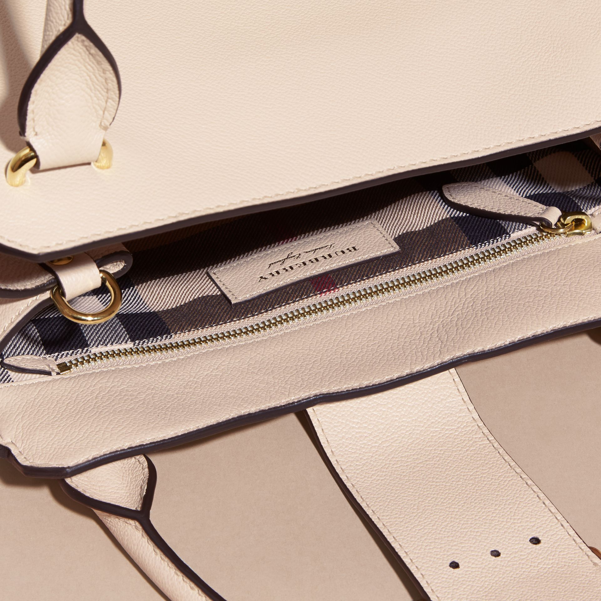 The Medium Buckle Tote in Grainy Leather in Limestone - gallery image 6