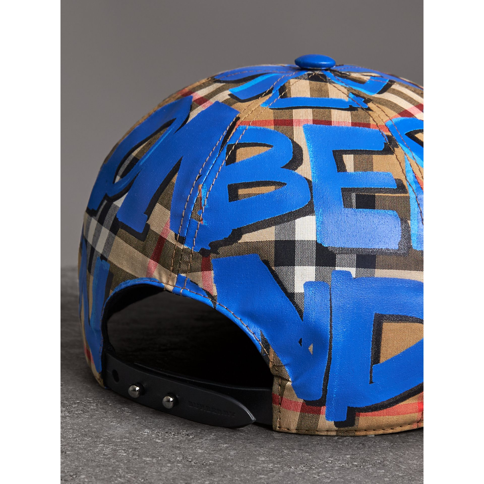 Graffiti Print Vintage Check Baseball Cap in Blue | Burberry - gallery image 3