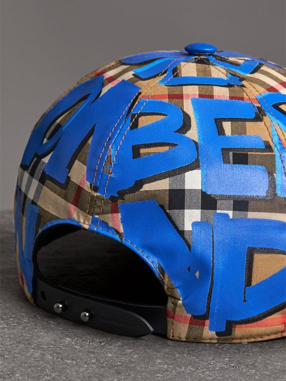 Graffiti Print Vintage Check Baseball Cap in Blue | Burberry - cell image 3