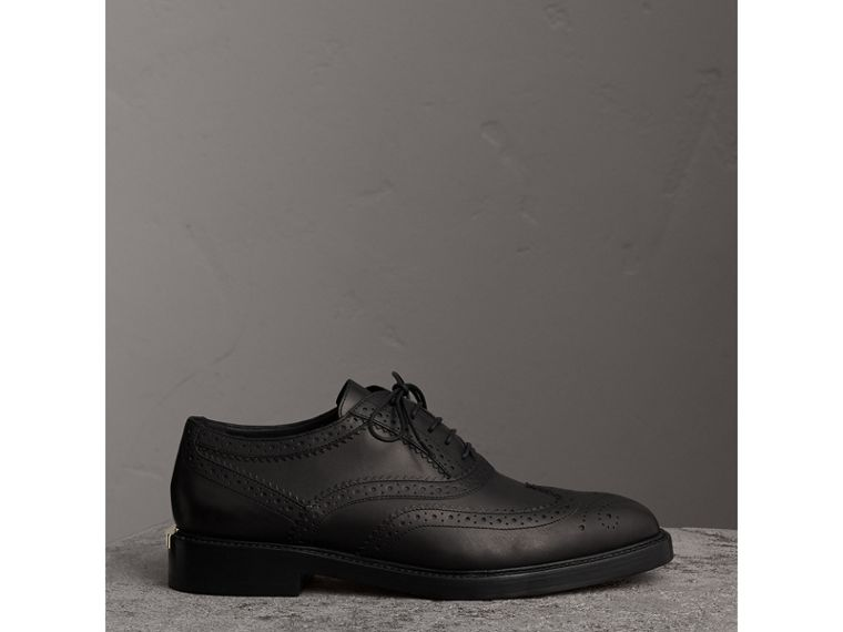 Leather Wingtip Brogues in Black - Women | Burberry Canada - cell image 4