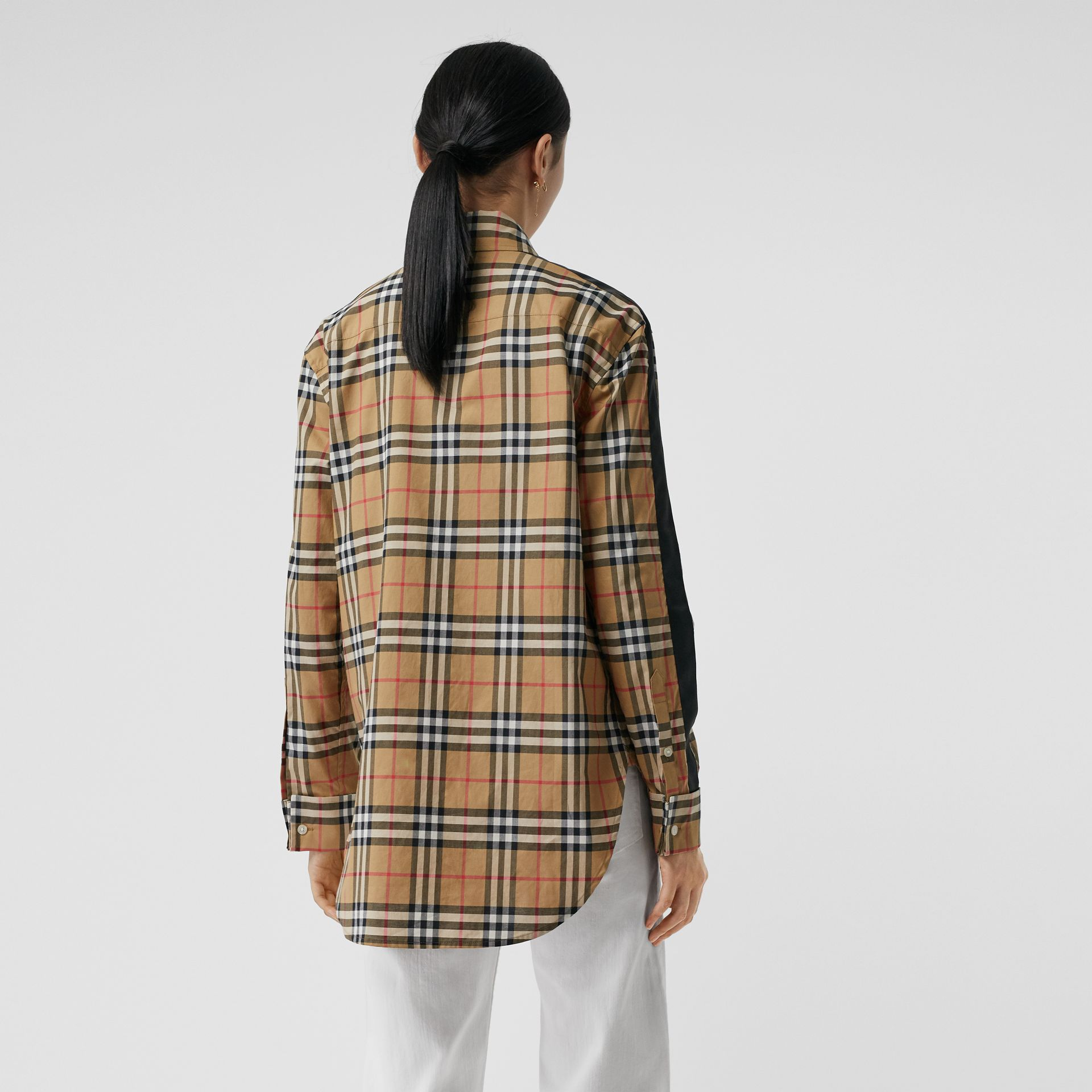 Satin Stripe Vintage Check Shirt in Antique Yellow - Women | Burberry Singapore - gallery image 2