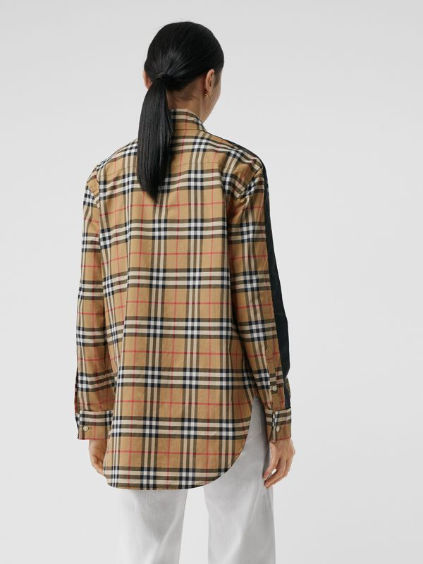 Satin Stripe Vintage Check Shirt in Antique Yellow - Women | Burberry Australia - cell image 2