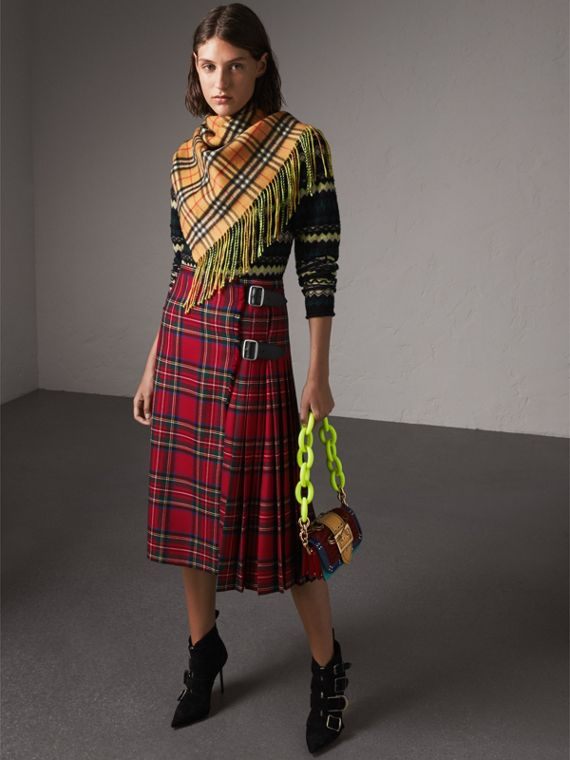 The Burberry Bandana in Vintage Check and Neon Cashmere in Bright Lemon | Burberry United Kingdom - cell image 2