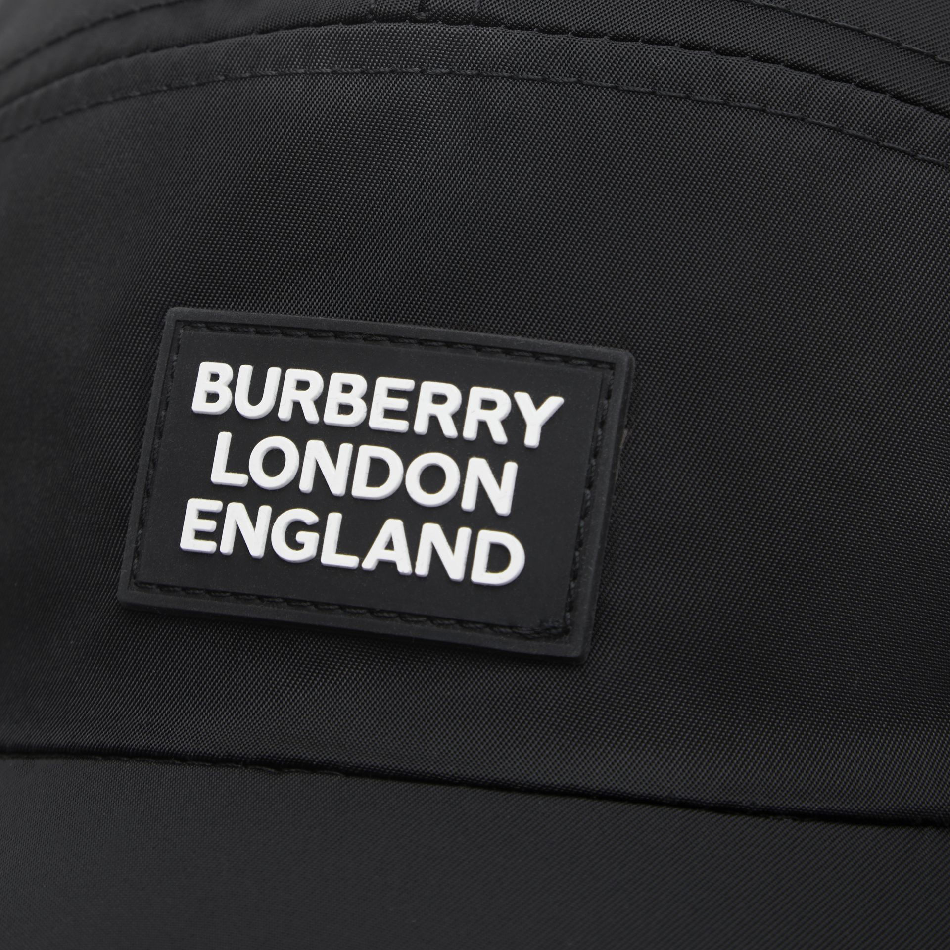Logo Appliqué Cotton Twill Bonnet Cap in Black | Burberry United Kingdom - gallery image 1