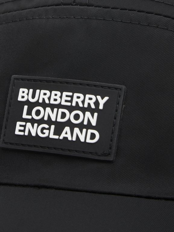 Logo Appliqué Cotton Twill Bonnet Cap in Black | Burberry United Kingdom - cell image 1