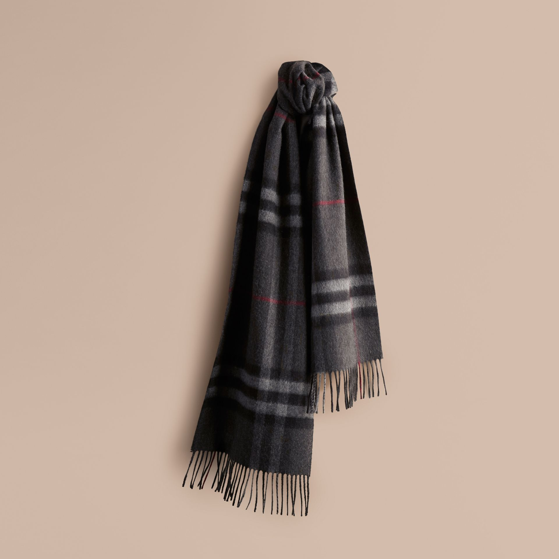 Charcoal check The Classic Cashmere Scarf in Check Charcoal - gallery image 7