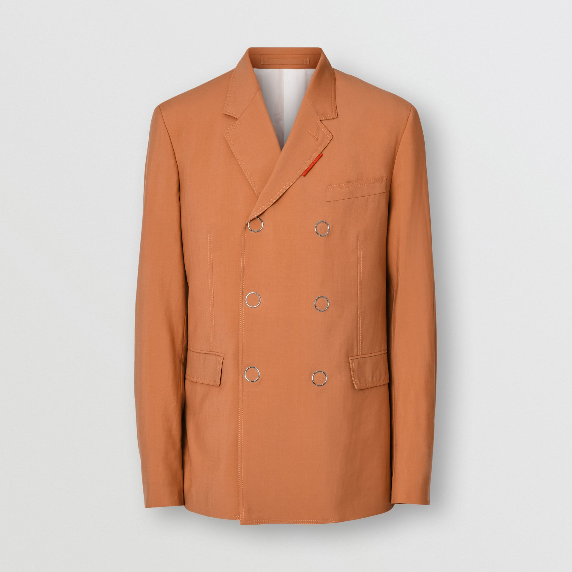 Slim Fit Press-stud Wool Tailored Jacket in Orange | Burberry Australia - gallery image 3