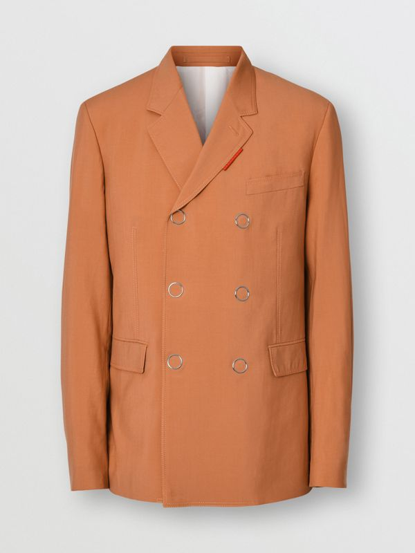 Slim Fit Press-stud Wool Tailored Jacket in Orange | Burberry - cell image 3