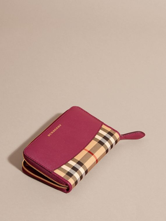 Dark plum Horseferry Check and Leather Ziparound Wallet Dark Plum - cell image 2
