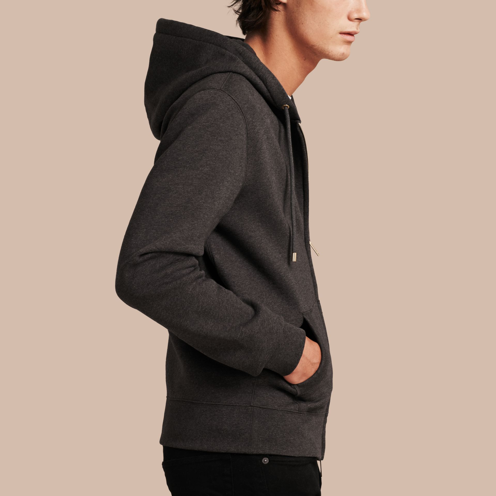 Hooded Cotton Jersey Top Charcoal Melange - gallery image 6