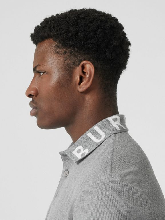 Logo Intarsia Cotton Piqué Polo Shirt in Pale Grey Melange - Men | Burberry - cell image 1