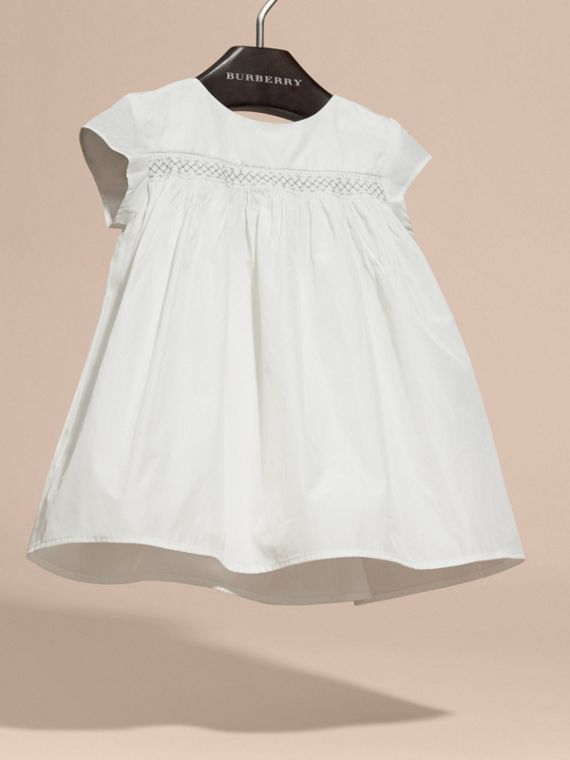White Embroidered Taffeta Dress with Bloomers - cell image 2