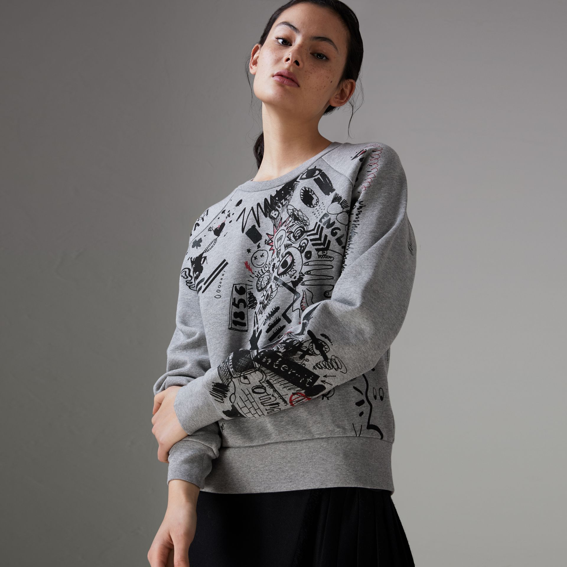Sketch Print Jersey Sweatshirt in Pale Grey Melange - Women | Burberry Singapore - gallery image 0
