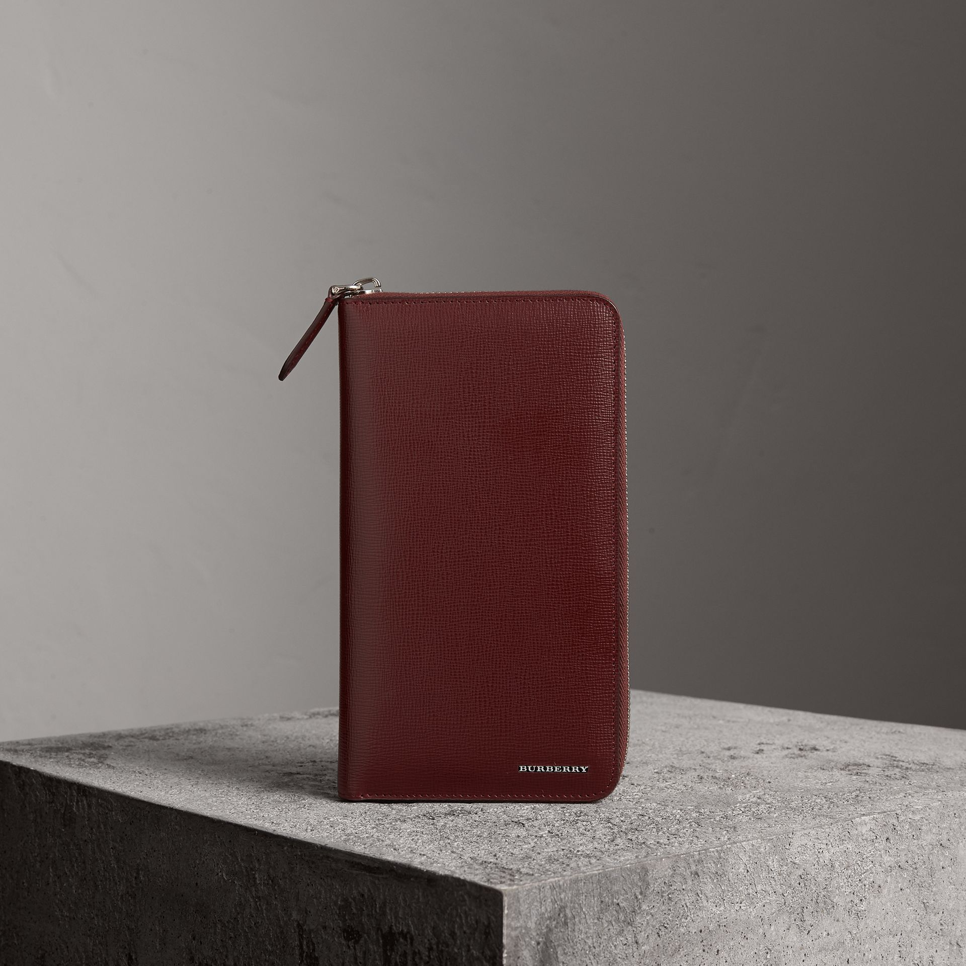 London Leather Ziparound Wallet in Burgundy Red | Burberry United States - gallery image 0