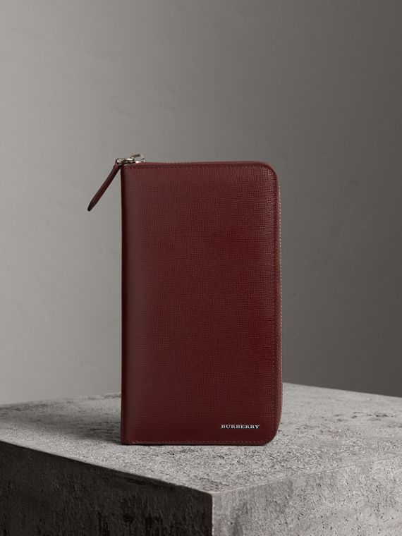 London Leather Ziparound Wallet in Burgundy Red