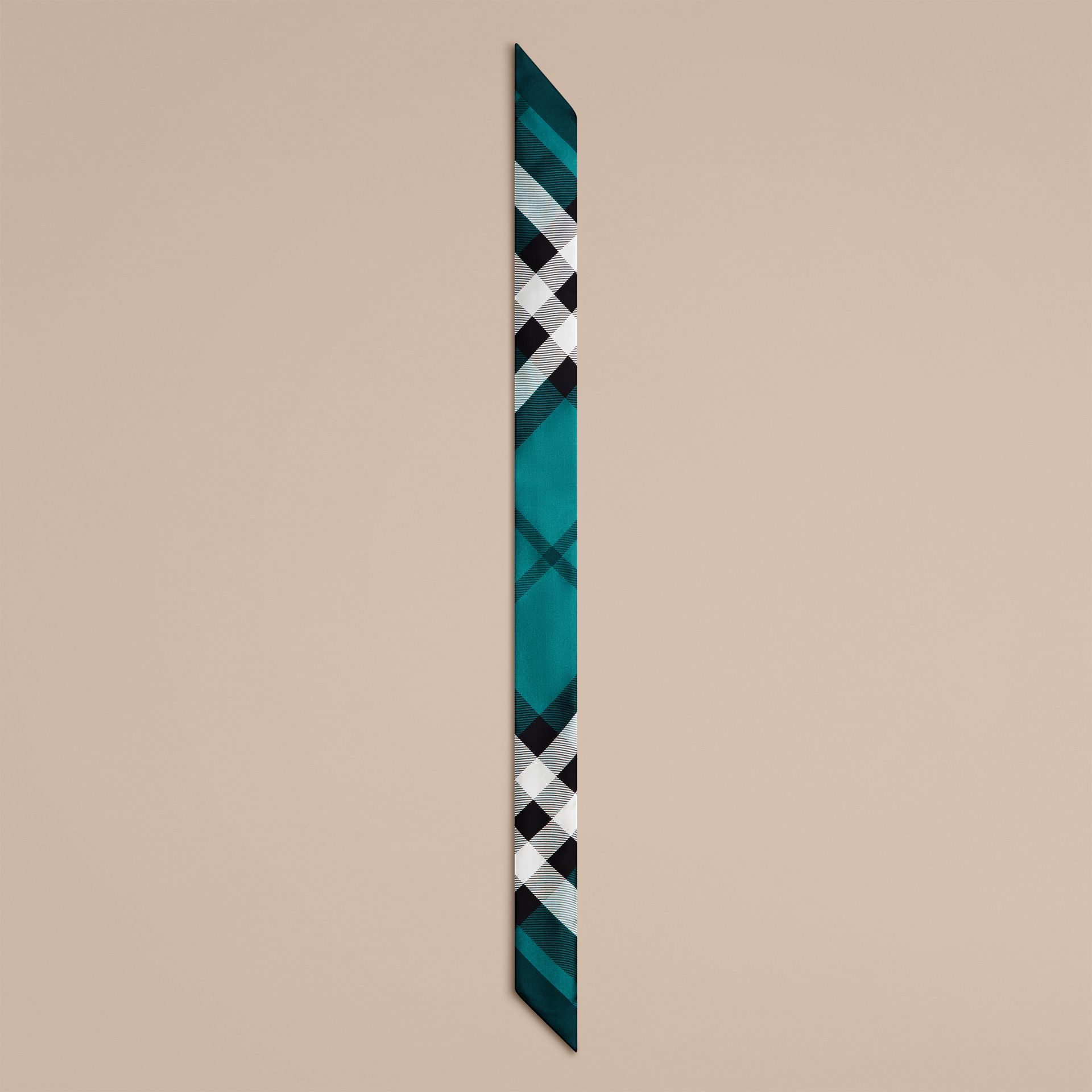 Dark aqua Check Print Slim Silk Scarf Dark Aqua - gallery image 4