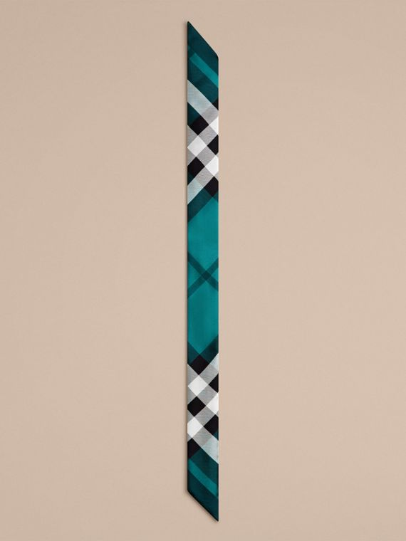 Dark aqua Check Print Slim Silk Scarf Dark Aqua - cell image 3
