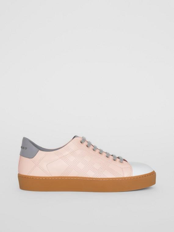 Sneaker in pelle con motivo tartan traforato in tre colori (Rosa Pallido)